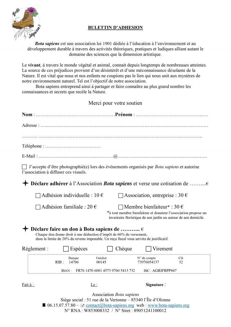 Bulletin d'adhésion - Association Bota sapiens